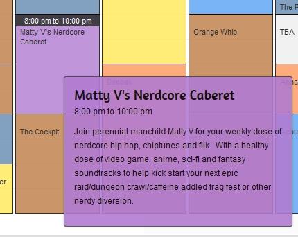 CJTR schedule highlighting Nerdcore Caberet 8pm on Thursdays