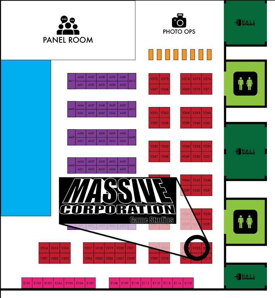 Floor map of Sask Expo Regina 2019 showing the location of the Massive Corporation Game Studios Booth (V225)