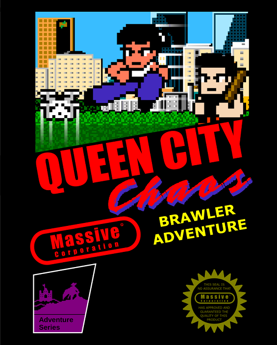 a NES marketing/cartridge art homage for Queen City Chaos