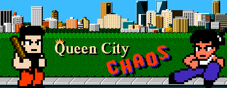 Title image for Queen City Chaos showing the Regina skyline and two main characters